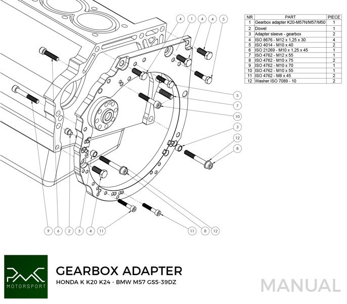 PMC Motorsport Race Stage 1 Adapter Kit Honda K K20 K24 - BMW M50 M52 M54  S50 S52 ZF310 ZF320 E36 M3 Getrag 420 (Sachs Performance)   Swap Solutions  / Adapter Kits \pmc motorsport