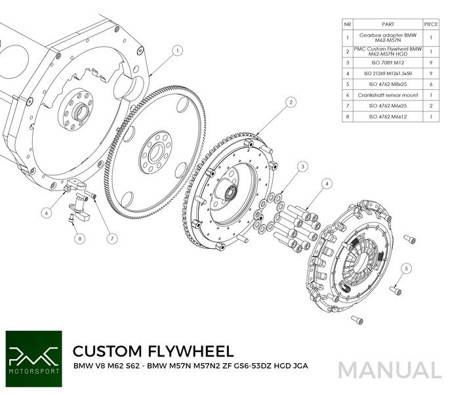 Flywheel BMW V8 M62 - BMW M57N M57N2 GS6-53DZ HGD JGA 240mm