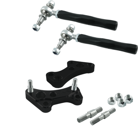 Stage 3+ PMC Motorsport turn angle adapters BMW E46 (Lock Kit / Steering Lock Adapters) / Black + Adjustable steering rods