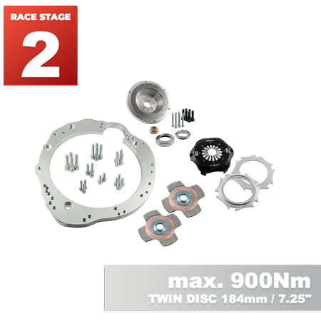 "PMC Motorsport RACE STAGE 2 Adapter Kit Nissan RB RB20 RB25 RB26 RB30 - Nissan 350Z Z33 370Z Z34 / 184mm 7.25"" POT (2)"